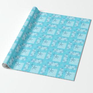 Aquamarine Starfish Wrapping Paper