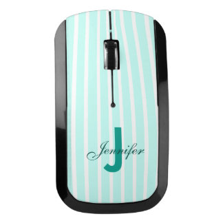 Aquamarine Striped Wireless Computer Mouse