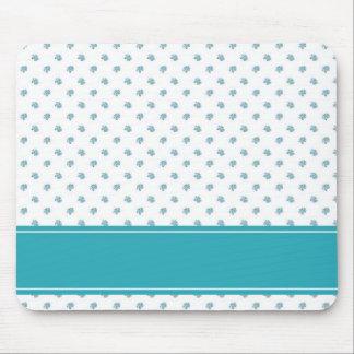 Aquamarine stripes and light blue flowers mouse pad