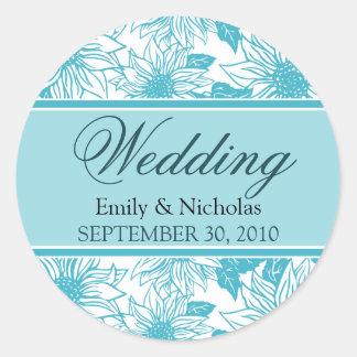 Aquamarine Sunflowers Wedding Invitation Seal