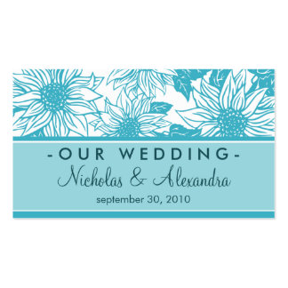 Aquamarine Sunflowers Wedding Website Card Double-Sided Standard Business Cards (Pack Of 100)