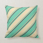 [ Thumbnail: Aquamarine, Tan, and Dark Slate Gray Pattern Throw Pillow ]