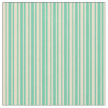 [ Thumbnail: Aquamarine & Tan Colored Lined Pattern Fabric ]