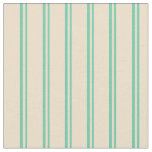 [ Thumbnail: Aquamarine & Tan Colored Pattern of Stripes Fabric ]