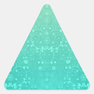 Aquamarine Teal Mint Green Fancy Damask Pattern Triangle Sticker