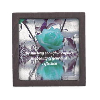 Aquamarine Teal Reflected Rose Inner Beauty Quote Keepsake Box