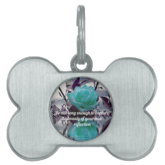 Aquamarine Teal Reflected Rose Inner Beauty Quote Pet Name Tag