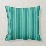 [ Thumbnail: Aquamarine & Teal Stripes Pattern Throw Pillow ]