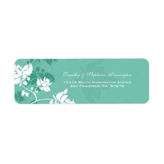 Aquamarine teal white floral swirls address label label