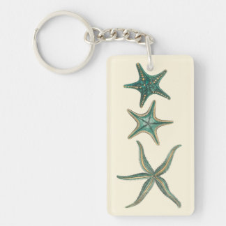 Aquamarine Triple Starfish Keychain