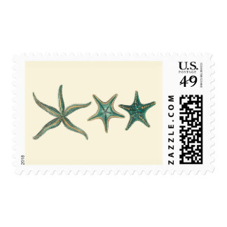 Aquamarine Triple Starfish Postage
