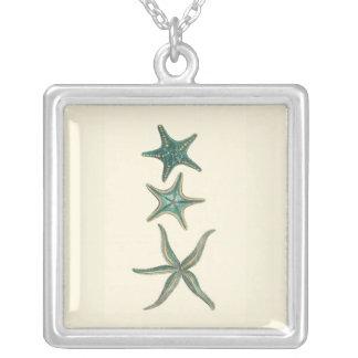 Aquamarine Triple Starfish Silver Plated Necklace