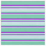 [ Thumbnail: Aquamarine, Turquoise & Dark Violet Colored Lines Fabric ]