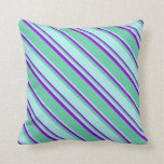 [ Thumbnail: Aquamarine, Turquoise & Dark Violet Colored Lines Throw Pillow ]