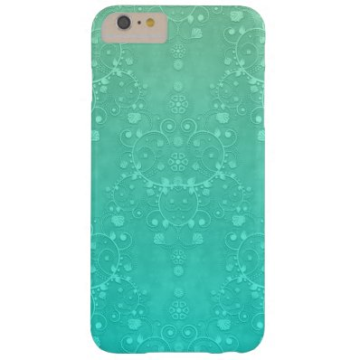 Aquamarine Turquoise Minty Green Fancy Damask Barely There iPhone 6 Plus Case