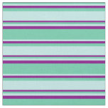 [ Thumbnail: Aquamarine, Turquoise & Purple Lined Pattern Fabric ]