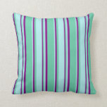 [ Thumbnail: Aquamarine, Turquoise & Purple Lined Pattern Throw Pillow ]