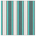 [ Thumbnail: Aquamarine, Turquoise, Slate Gray, White & Black Fabric ]
