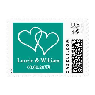 Aquamarine two interlocking hearts wedding stamps