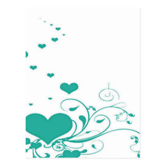 Aquamarine Valentine Hearts On A White Background Postcard