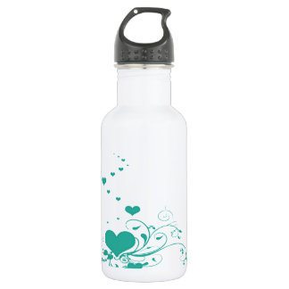 Aquamarine Valentine Hearts On A White Background Stainless Steel Water Bottle