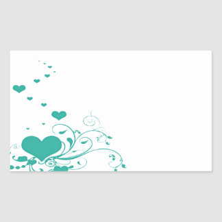 Aquamarine Valentine Hearts On A White Background Rectangle Sticker