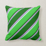 [ Thumbnail: Aquamarine, Violet, Dark Green, Lime Green & White Throw Pillow ]