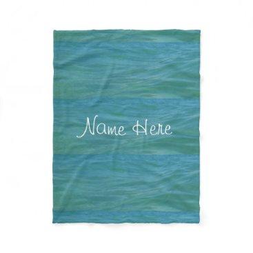 Beach Themed Aquamarine Waves Beach Waves Tropical Blue Green Fleece Blanket
