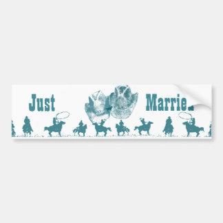 Aquamarine Western Vintage Wedding Bumper Sticker
