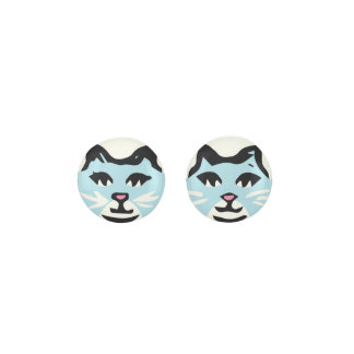 AQUAMARINE & WHITE CAT With White Whiskers Earrings