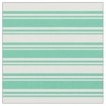 [ Thumbnail: Aquamarine & White Colored Stripes Pattern Fabric ]