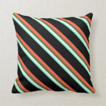 [ Thumbnail: Aquamarine, White, Dark Olive Green, Red & Black Throw Pillow ]