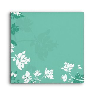 Aquamarine white floral swirls envelope envelope
