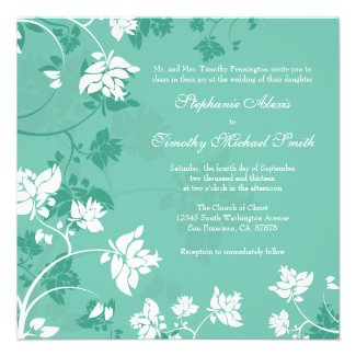 Aquamarine white floral swirls wedding invitation