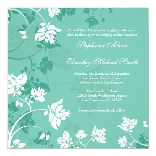 Aquamarine white floral swirls wedding invitation
