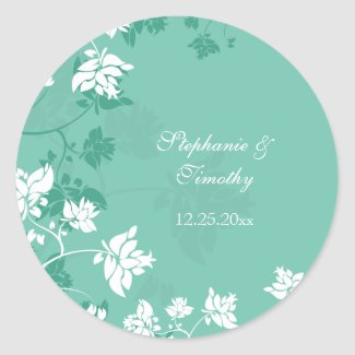 Aquamarine white floral swirls wedding stickers sticker