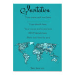 aquamarine world map 5x7 paper invitation card