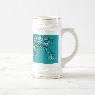 aquamarine world map beer stein