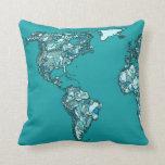 aquamarine world map ink drawing pillows