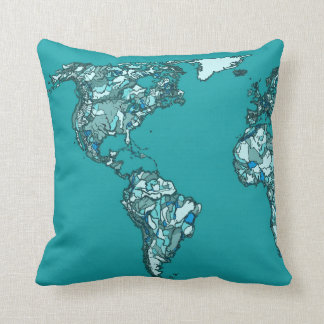 aquamarine world map ink drawing throw pillow