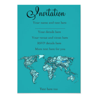 "aquamarine world map 5"" x 7"" invitation card"