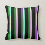 [ Thumbnail: Aquamarine, Yellow, Orchid, Forest Green & Black Throw Pillow ]