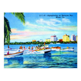 Aquaplaning en la bahía de Biscayne, Miami, la Flo Tarjeta Postal