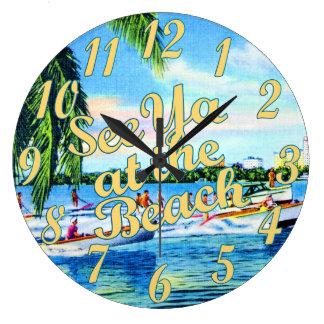 Aquaplaning in Biscayne Bay - See Ya at the Beach Wall Clocks