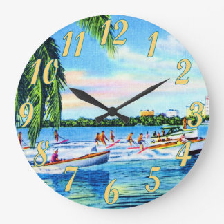 Aquaplaning in Biscayne Bay Wall Clocks