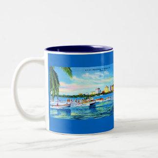 Aquaplaning on Biscayne Bay, Miami, Florida Two-Tone Coffee Mug