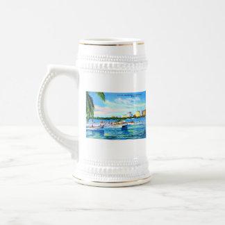 Aquaplaning on Biscayne Bay, Miami, Florida 18 Oz Beer Stein