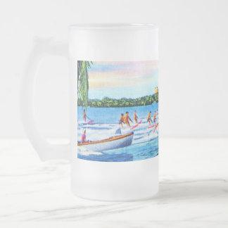 Aquaplaning on Biscayne Bay, Miami, Florida 16 Oz Frosted Glass Beer Mug