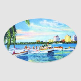 Aquaplaning on Biscayne Bay, Miami, Florida Oval Sticker