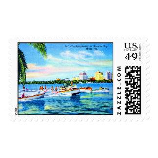 Aquaplaning on Biscayne Bay, Miami, Florida Stamp